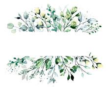 Leaves Frame Border. Watercolo...