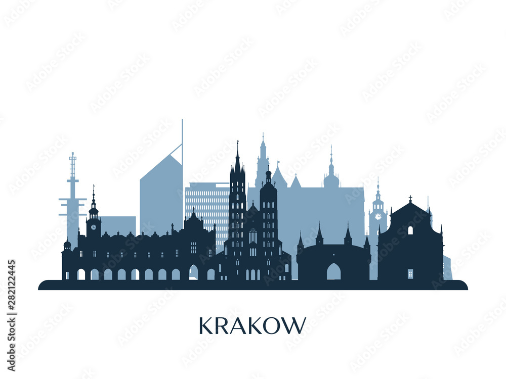 Obraz Krakow skyline, monochrome silhouette. Vector illustration. fototapeta, plakat