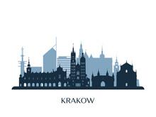 Krakow Skyline, Monochrome Sil...
