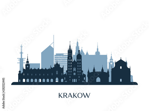 Krakow skyline, monochrome silhouette. Vector illustration.