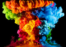 Colorful Paint Drops From Abov...