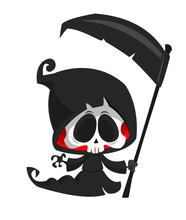 Cute Cartoon Grim Reaper. Hall...