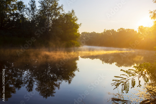 Foto auf Gartenposter Baume quiet sunset over the evening lake, beautiful summer natural background