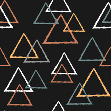 Abstract Seamless Pattern With Triangles In Pastel Colors On Dark Background