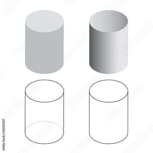 Cuadros en Lienzo  Isometric 3d Cylinder Tubes Vector Illustration