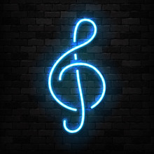 Vector Realistic Isolated Neon Sign Of Treble Clef Logo For Template Decoration And Covering On The Wall Background. Concept Of Music And Notes.