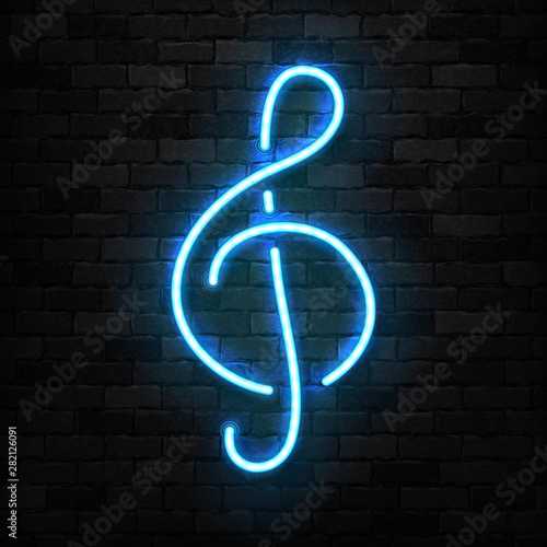 Obraz na plátne Vector realistic isolated neon sign of Treble Clef logo for template decoration and covering on the wall background