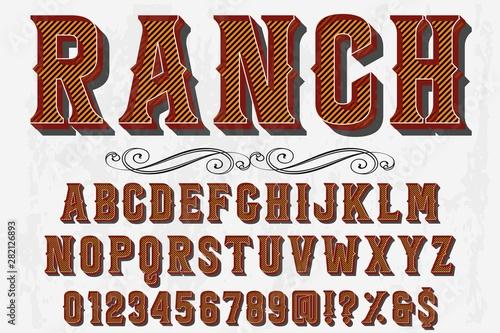Obraz font handcrafted typeface vector vintage named vintage ranch - fototapety do salonu