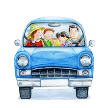 Happy Cartoon Family Driving In A Blue Car. Watercolor Illustration.