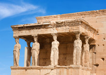 Porch Of The Caryatids At Erechtheion Greek Temple On The North Side Of The Acropolis Of Athens, Greece