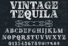 Font Script Typeface  Handcrafted Vector Named Vintage Tequila