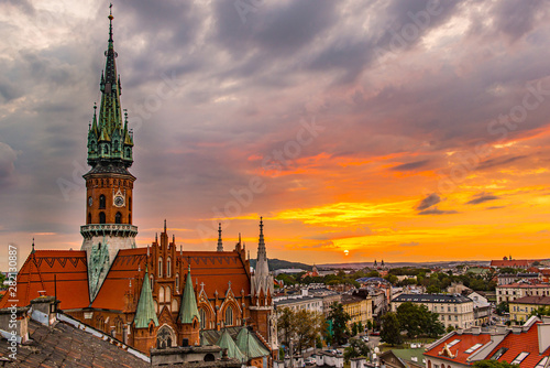 Fototapeta Cracow, st Joseph Church from the roof, Podgorze obraz
