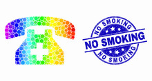 Pixel Rainbow Gradiented Medical Phone Mosaic Icon And No Smoking Seal Stamp. Blue Vector Rounded Scratched Watermark With No Smoking Message. Vector Combination In Flat Style.