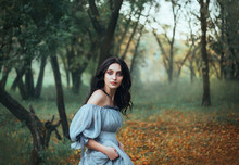 Mythical Story About Woman Pandora, Lady With Tar Black Hair And Blue Eyes, Forest Beauty In Gray Dress With Bare Shoulders Hiding Alone, Portrait Of Enchantress In Green Grove With Autumn Leaves