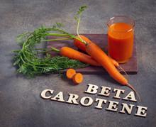 Beta Carotene Text And Carrot Juice