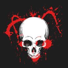 Human Skull In Blood Splashes....