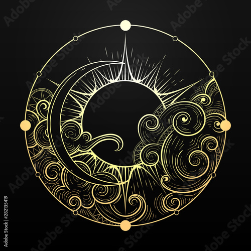 Obraz na plátně Hand Drawn Golden Sun and Moon with Cloud Esoteric Symbol