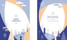 Set Of Vertical Banners, Stylized Winter Landscape Illustration ,Christmas Deer, Christmas Cards