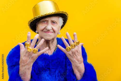 Eccentric senior woman portrait - 282137251