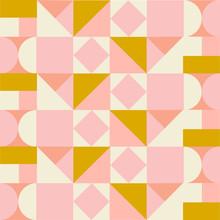 Geometric Mid Century Modern Style Seamless Pattern. Vector Background  Print.