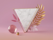 3d Render, White Marble Triangle Shape, Blank Triangular Banner Mockup, Simple Geometrical Objects Isolated On Rose Pink Background, Abstract Luxury Concept, Gold Ball, Glass Sphere, Paper Palm Leaves