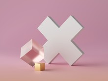 3d Abstract Modern Minimal Background, White Cross Shaped Canvas Isolated On Pink, Golden Cube, Cubic Shape, Crystal Glass Block, Fashion Minimalistic Scene, Simple Clean Design, Blank Feminine Mockup