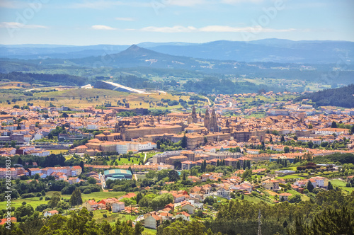 Leinwand Poster Panorama of saint city Santiago de Compostela