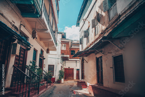 Foto auf Leinwand Sansibar Zanzibar, Tanzania. Streets, buildings and architectural details of the old historic center of the old town of Stone Town