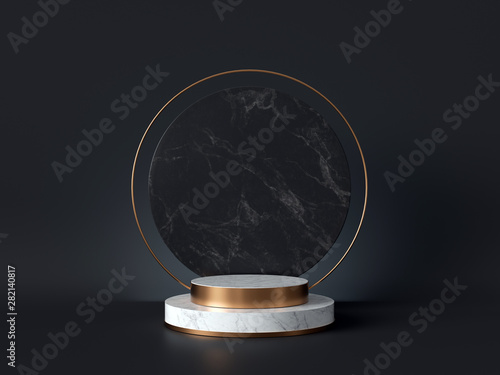 Cuadros en Lienzo 3d rendering of white marble pedestal isolated on black background, round gold f