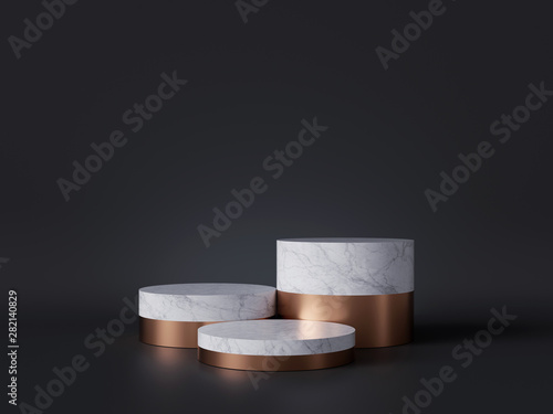 3d rendering of white marble pedestal isolated on black background, three cylind Wallpaper Mural