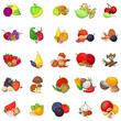 Fresh produce icons set. Cartoon set of 25 fresh produce vector icons for web isolated on white background
