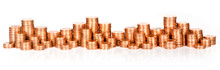 Panorama Of Stacks Of Coins On White Background, Isolated