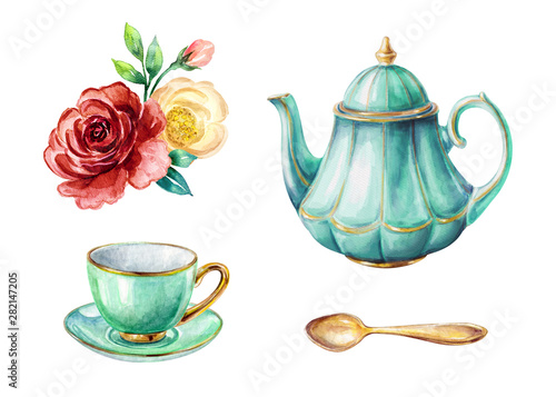 Fotografía watercolor illustration, mint green teapot and cup, gold spoon, red and yellow r
