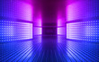 canvas print picture - 3d render, pink blue neon abstract background, ultraviolet light, night club empty room interior, tunnel or corridor, glowing panels, fashion podium, performance stage decorations,
