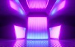 canvas print picture - 3d render, bright pink violet neon abstract background, glowing panels in ultraviolet light, futuristic power generating technology