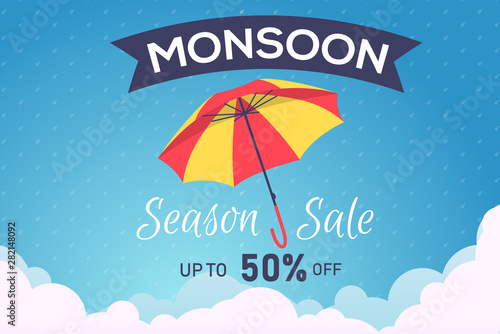 Photo  Creative Sale Banner Or Sale Poster Of Monsoon Season