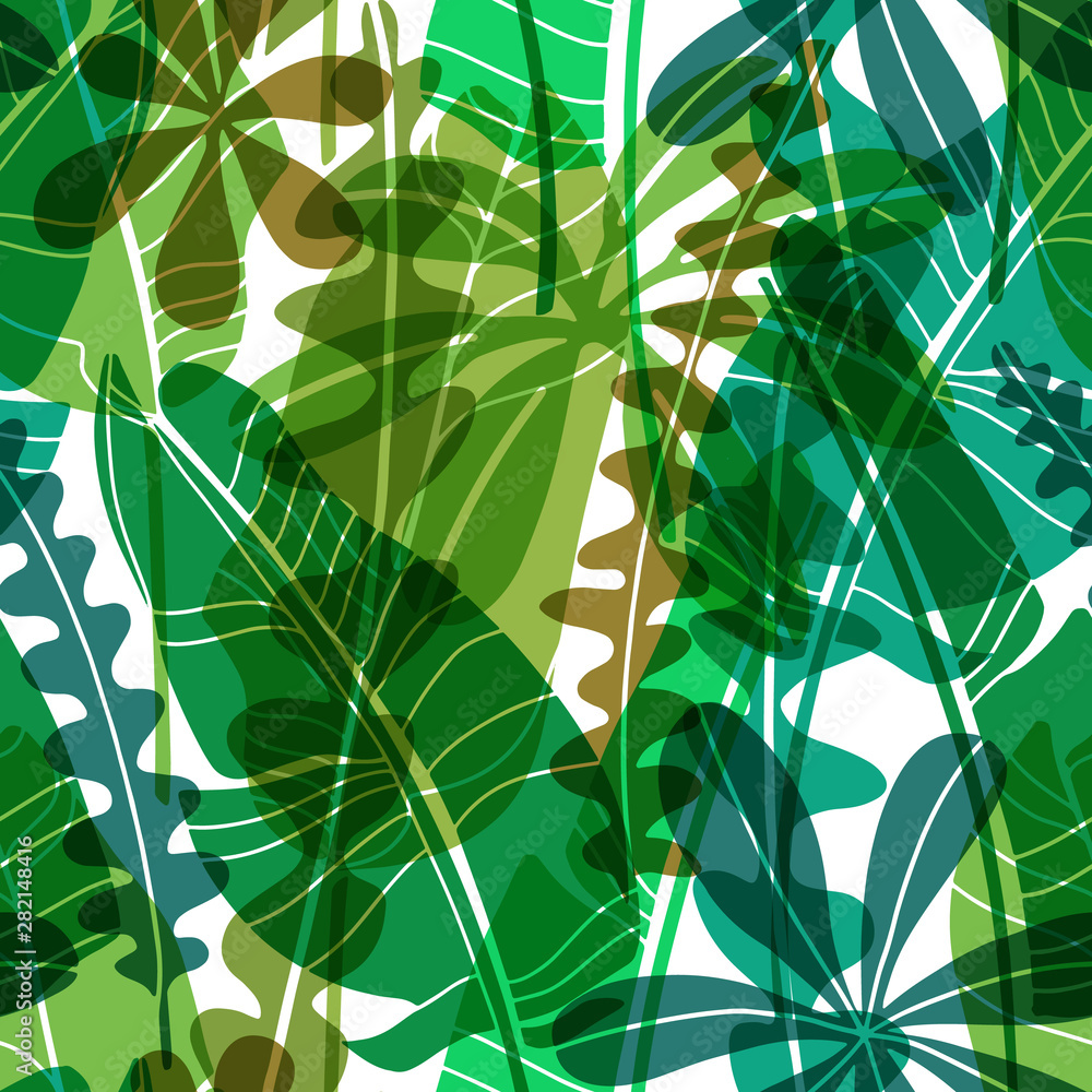 Fototapeta Vector seamless pattern with green drawn tropical leaves various shape.Flat botanical wallpaper, modern floral repeatable backdrop with transparency.