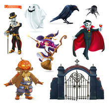 Happy Halloween. Characters And Objects 3d Vector Set. Skeleton, Pumpkin Scarecrow, Witch, Ghost, Raven, Spider, Vampire, Gate To The Cemetery.