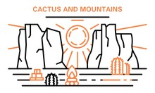 Cactus And Mountains Banner. Outline Illustration Of Cactus And Mountains Vector Banner For Web Design