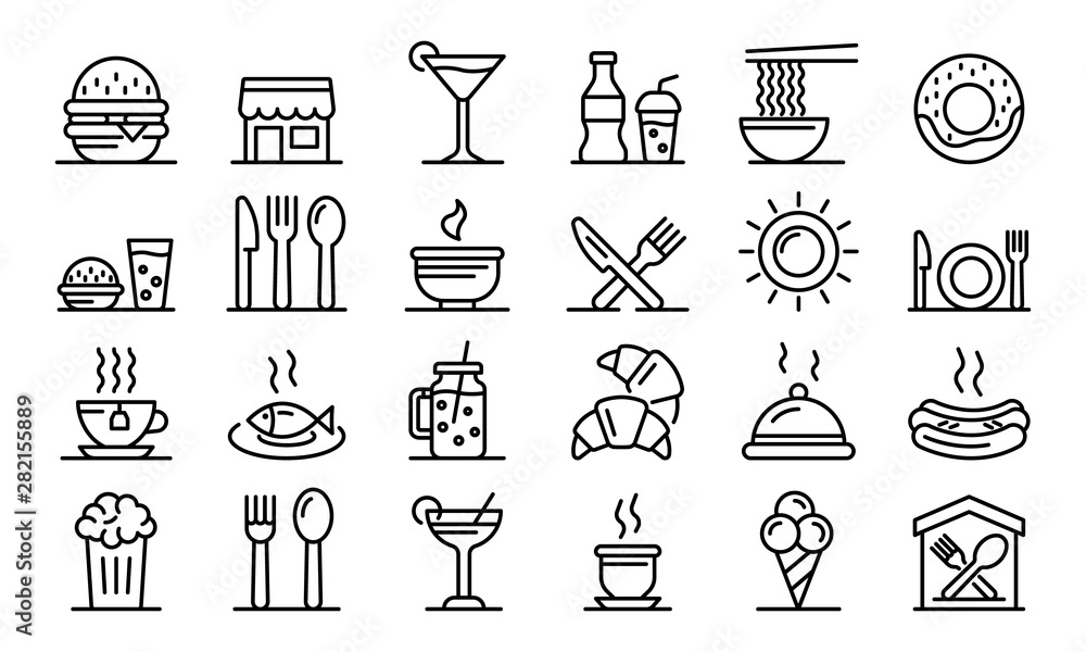 Fototapeta Food courts icons set. Outline set of food courts vector icons for web design isolated on white background