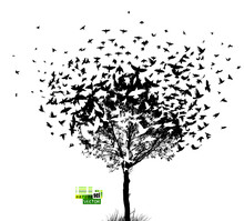 The Silhouette Of A Tree With Birds Flying. Vector Illustration