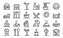 Food Courts Icons Set. Outline...