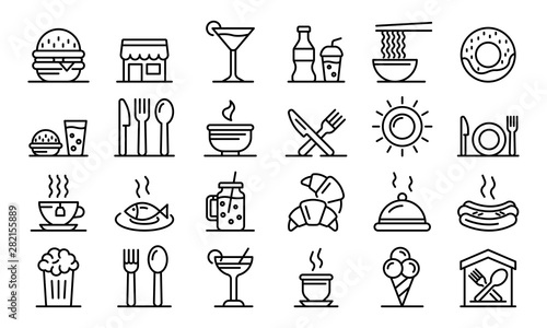 Fototapeta Food courts icons set. Outline set of food courts vector icons for web design isolated on white background obraz