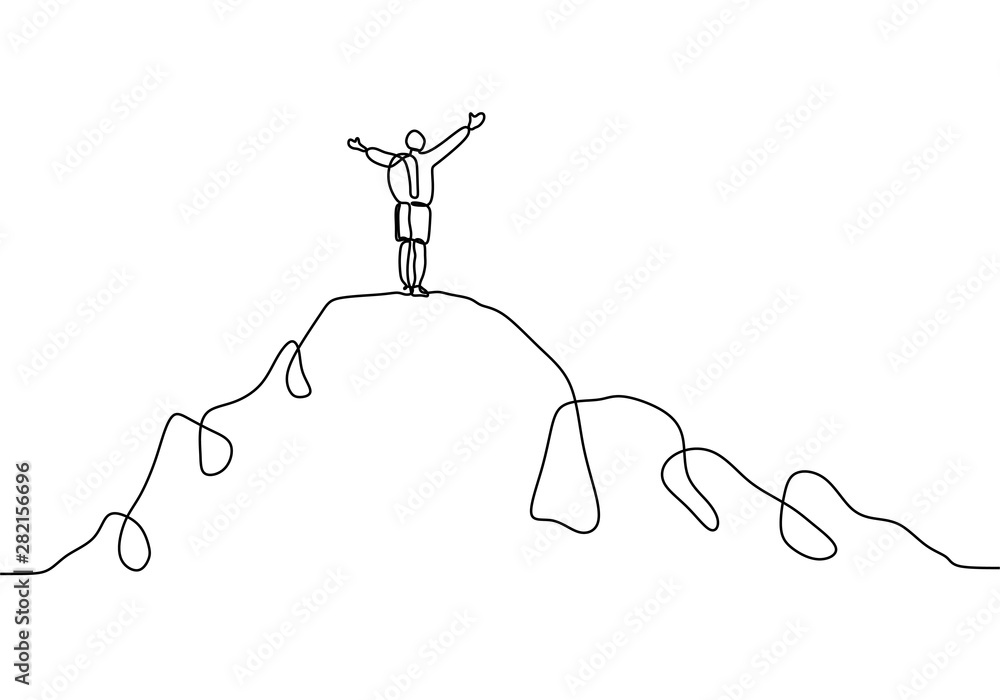 Fototapeta Continuous line drawing of person rising hands after climbing a peak of mountain. Concept of happy success achieving goals theme.