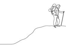 Hijab Girl Hiking And Climbing...