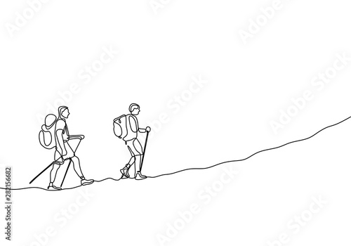 Fotomural Continuous line drawing of group two people hiking and climbing adventure travel