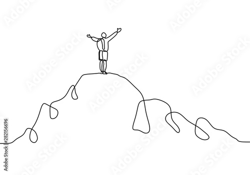 Obraz Continuous line drawing of person rising hands after climbing a peak of mountain. Concept of happy success achieving goals theme. - fototapety do salonu