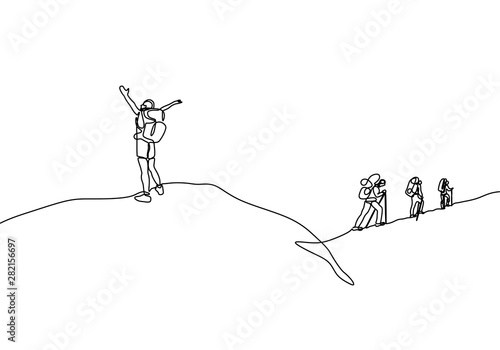 Fototapeta Continuous line drawing of people hiking climb a mountain peak. He celebrate of happiness and freedom obraz