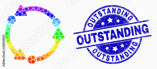 Fotografie, Obraz  Pixelated rainbow gradiented dot rotation mosaic icon and Outstanding stamp