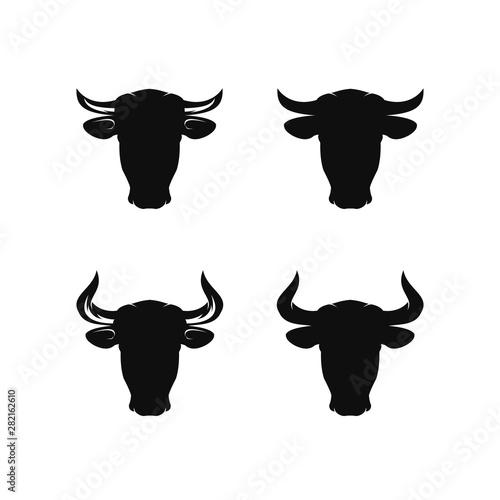 Cuadros en Lienzo Set of cow / bul head silhouette logo design